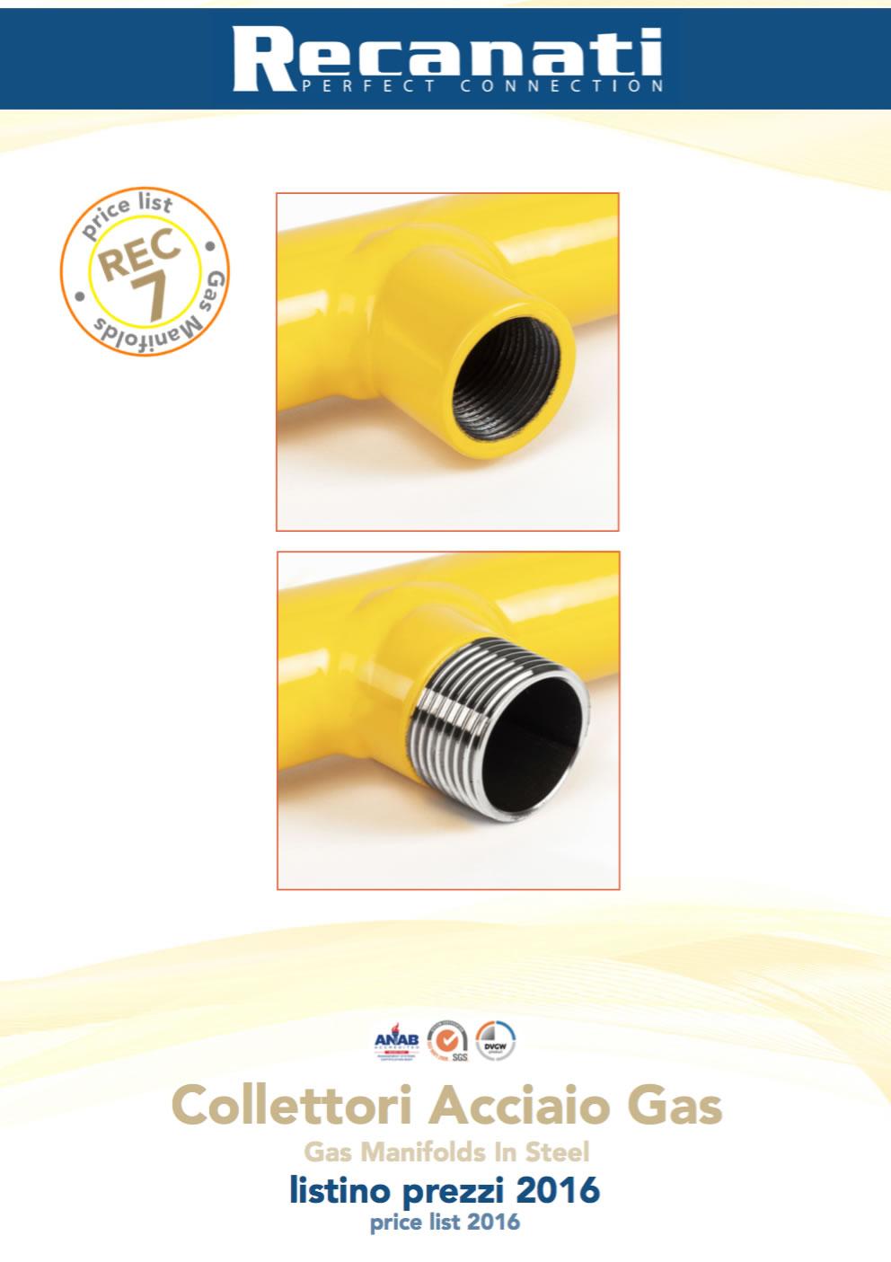 Catalogo Collettori in acciaio per gas